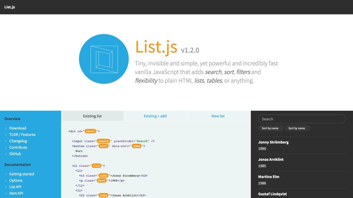 I've finally released v1.2.0 of List.js + a new site