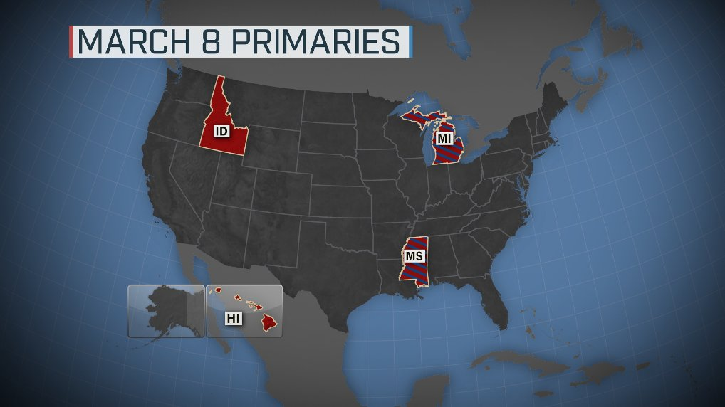 On March 8, both parties primary in Michigan and Mississippi; the GOP holds contests in Idaho and Hawaii. #MTPDaily