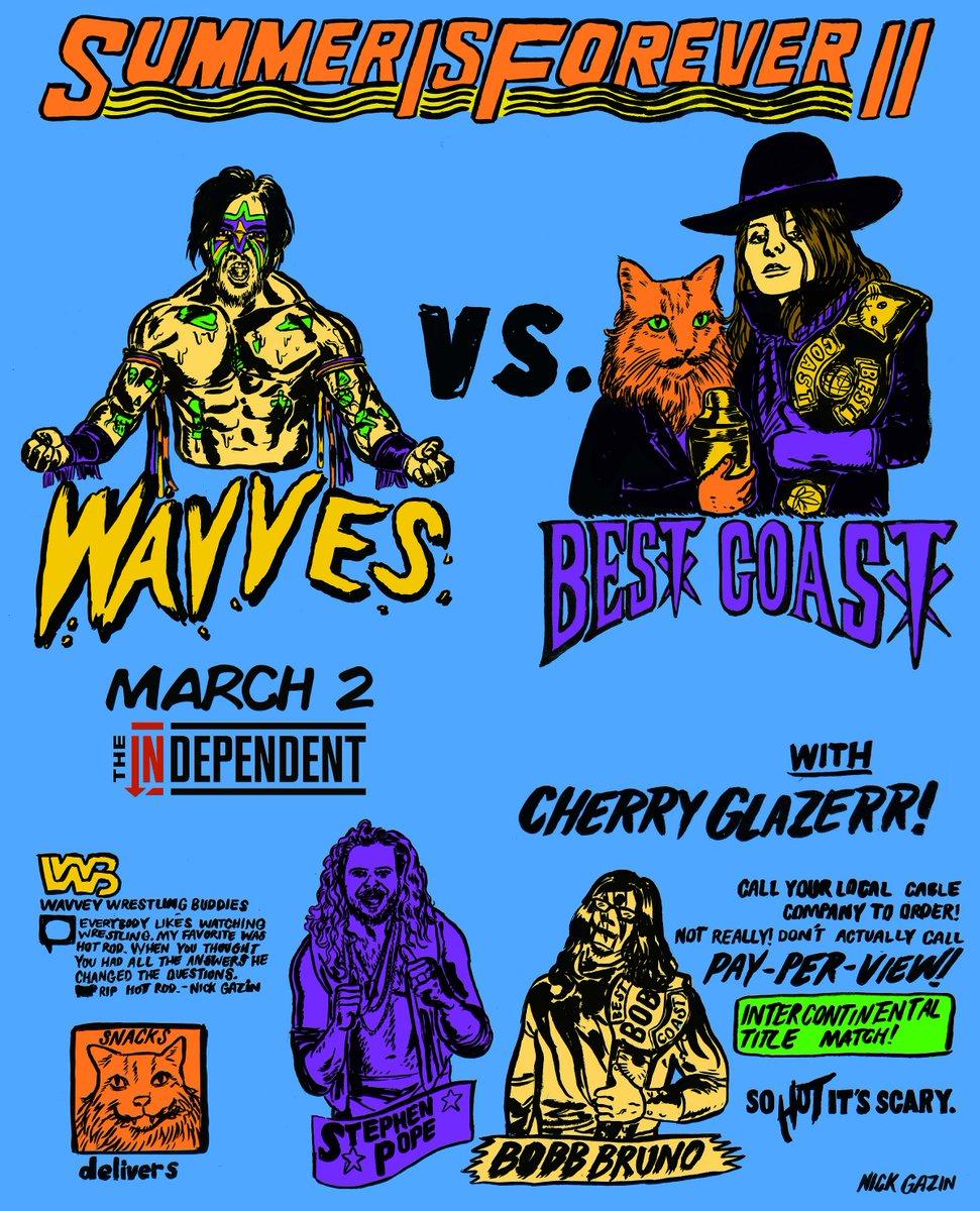 tonight: @wavves + @BestCoast + @cherryglazerr #soldout show at 8pm! https://t.co/26v6JReAWJ
