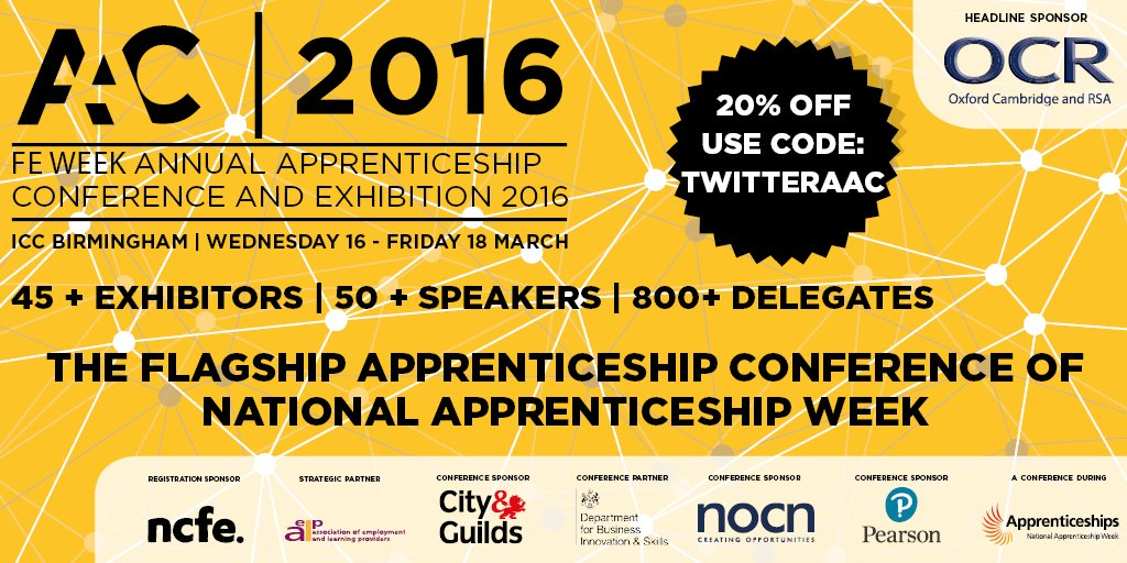 The not to be missed event of #NAW2016 - FE Week Annual Apprenticeship Conference #AAC2016 | https://t.co/luBx2e9beQ https://t.co/fnSDEh5Dw5