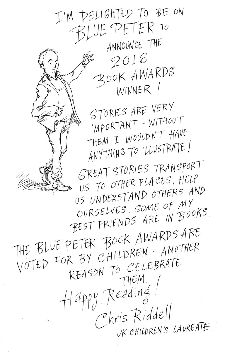 Happy #WorldBookDay! @CBBC #BluePeter welcomes @chrisriddell50 onto the show to announce the winners of #BookAwards https://t.co/BkJGk48hH9