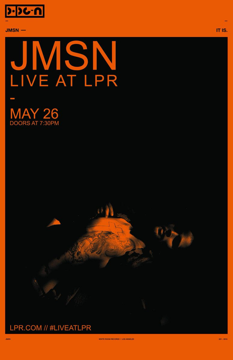 on sale now!   ◥◣ JMSN  5/26 at @lprnyc - https://t.co/r0DWJFILQp https://t.co/5YyhP8yxRd