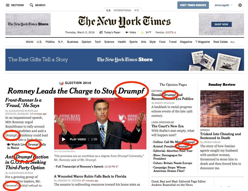 Drumpfinator Chrome Extension installed » https://t.co/FkPTzwvtG0 #MakeDonaldDrumpfAgain | NYT homepage right now » https://t.co/qNnJMvbYIP