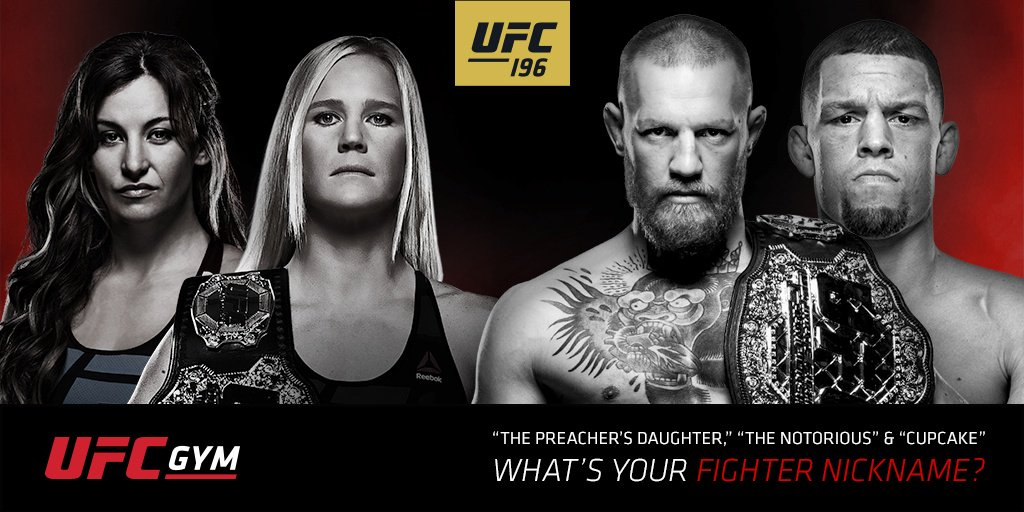 UFC Fighters have legendary nicknames. Get your own: https://t.co/bm3ASkVLyW  #UFC #UFCGYM #UFC196 https://t.co/FemgYwAuzS