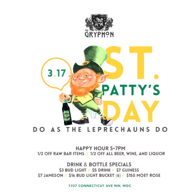 3/17 St. Patricks Day Party at The Gryphon w/ Food & Drink Specials | Free w/ RSVP: https://t.co/ObksGojDTl https://t.co/zYA21yHQxz