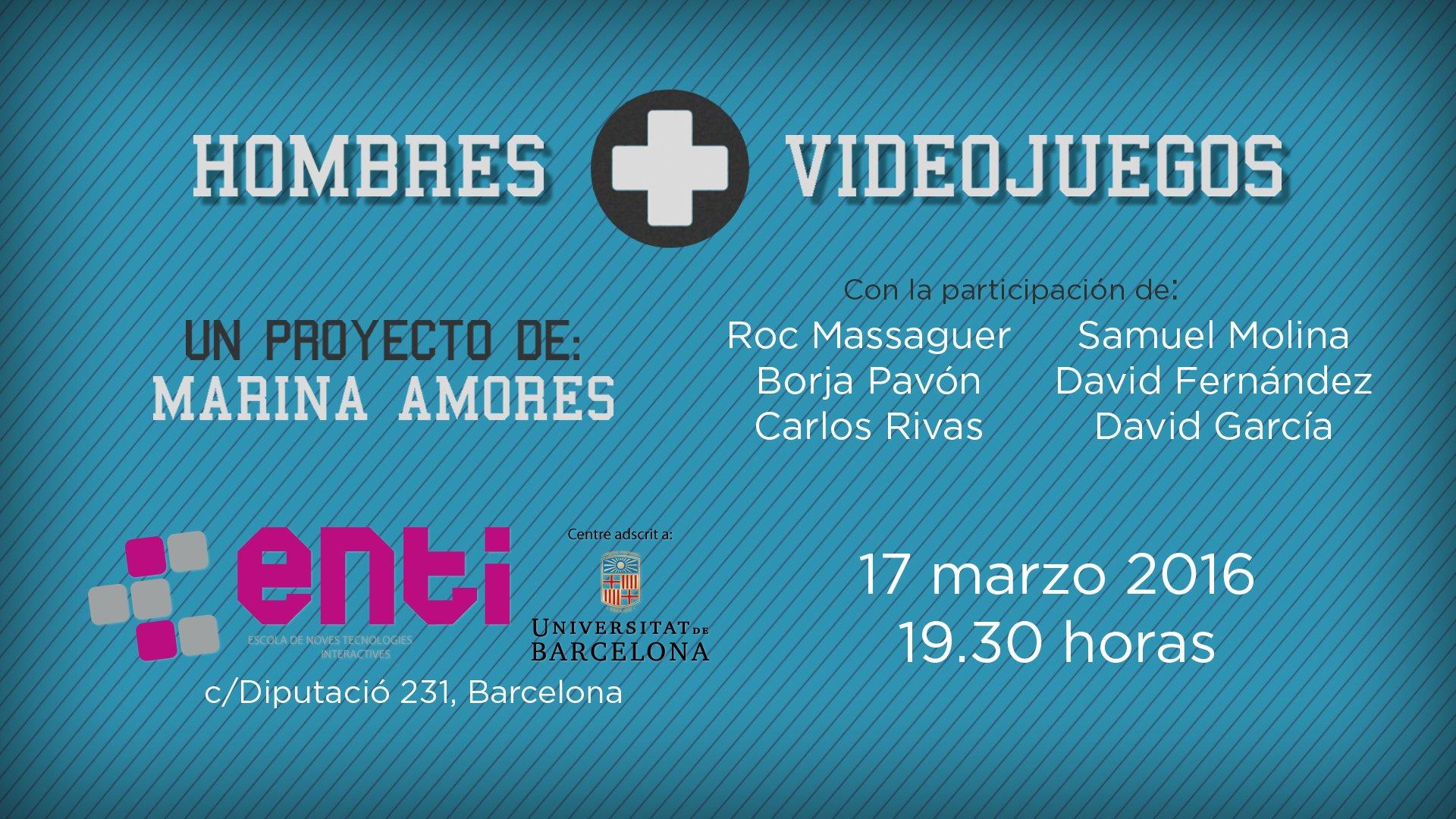Jueves 17 de marzo a las 19.30 hrs presentación de 'Hombres+Videojuegos' en ENTI (Bcn). Entrada gratuita. https://t.co/YW0SgCC3C8