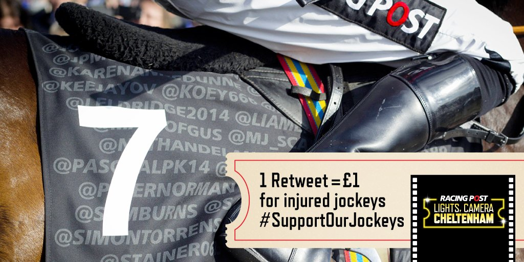 #SupportOurJockeys for the chance to get your @ handle on a saddle cloth in the Racing Post Arkle https://t.co/1T5gssfwfj