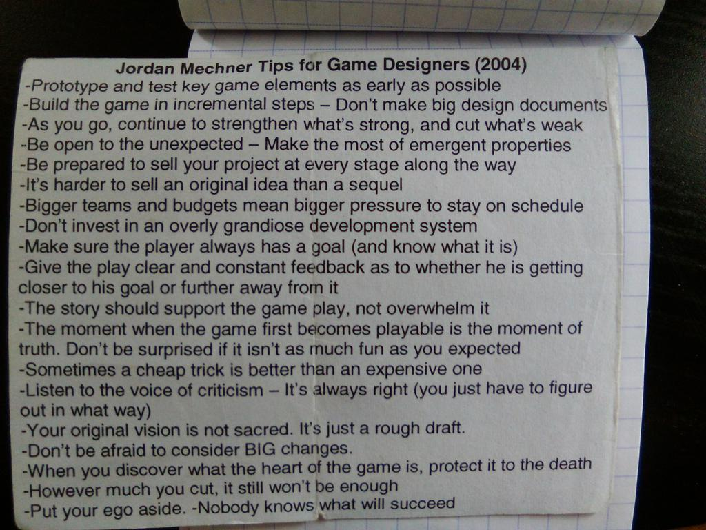 The essence of #gamedesign,found in old notebook ;-) (cc & thx to @jmechner) https://t.co/2jxTEeMjKF