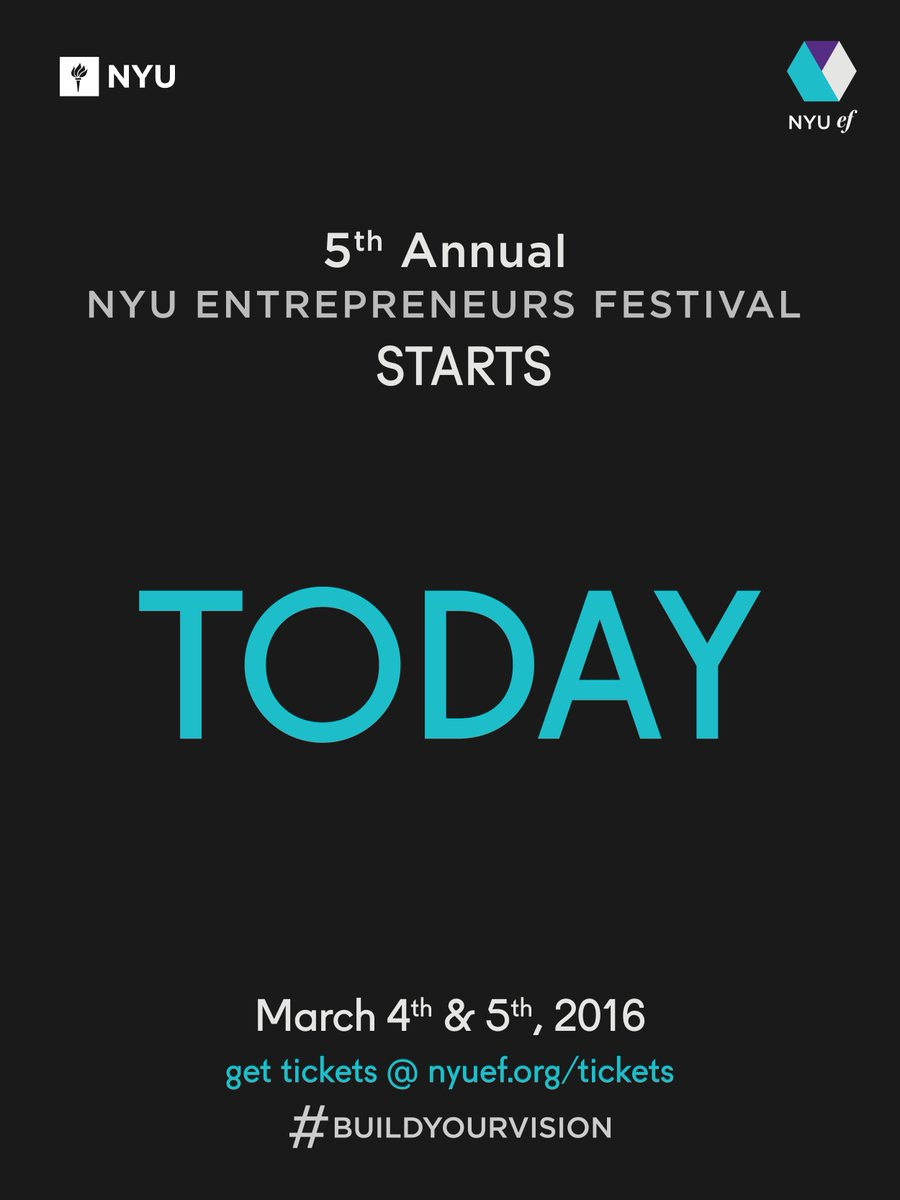 TODAY starts a weekend of innovation, collaboration, and entrepreneurship at #NYUEF. Get ready to #buildyourvision! https://t.co/DpKCoaEm1l