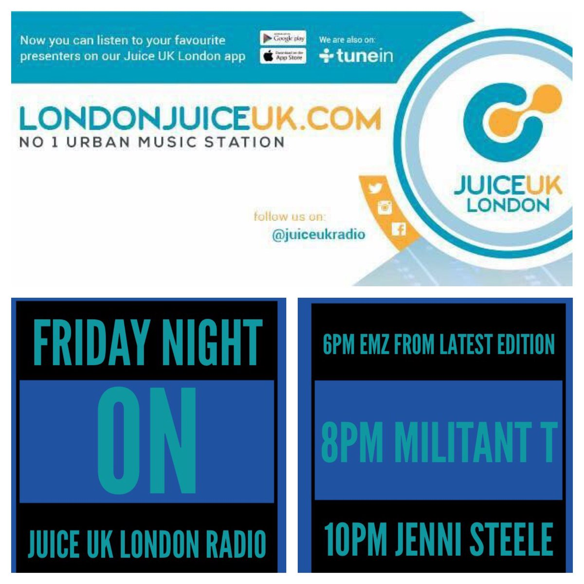 Tonight on @JuiceukRadio @IAmDeejayEmz @demilitant1 @Jenni_Lioness