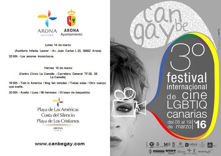 3er Festival de Internacional de Cine LGTBIQ Canarias 2016 CanBeGay #ILoveArona #Arona #surdetenerife @turismoarona https://t.co/DPRQS8Oh9p
