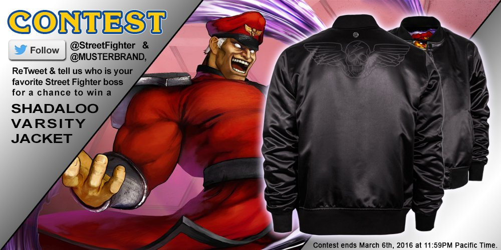 Want a Shadaloo jacket? RT and follow @StreetFighter & @Musterbrand for a chance to win! Add'l rules below: https://t.co/gvYgYkC1fu