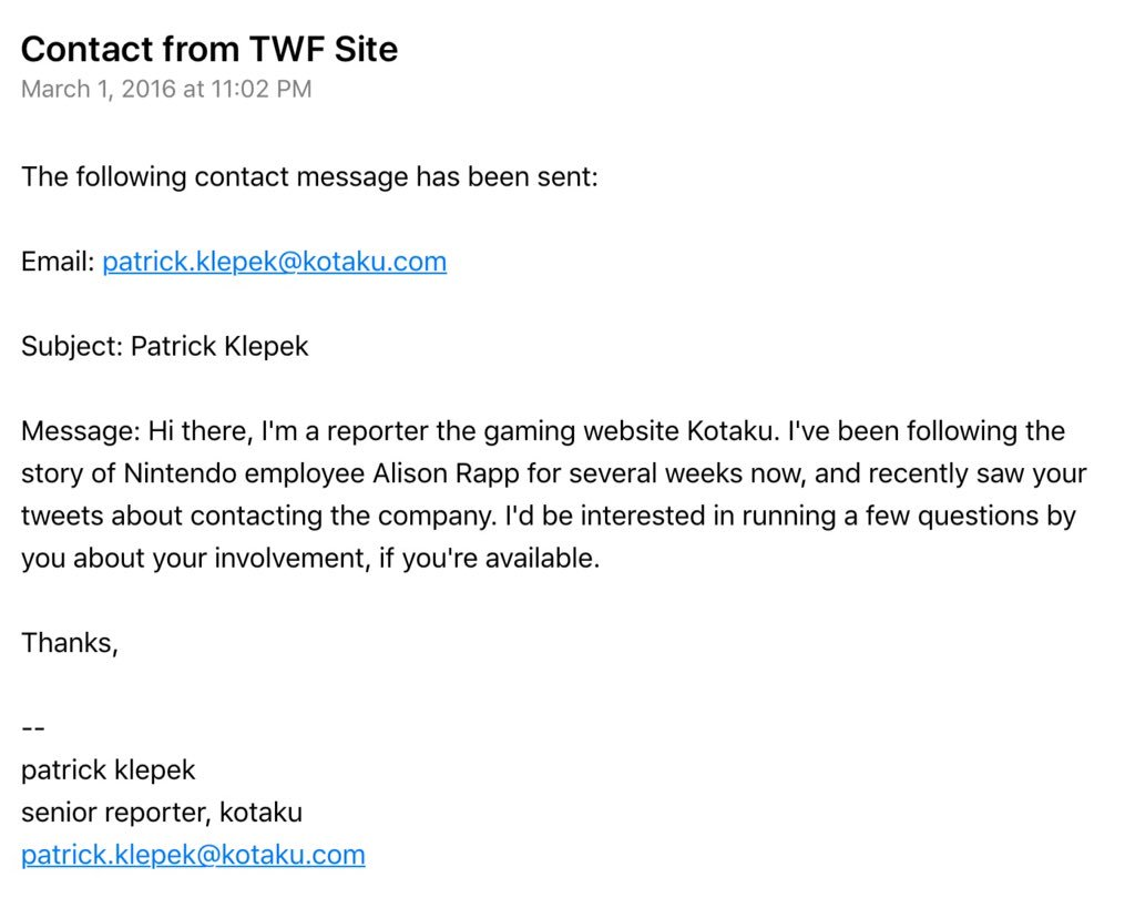 Hey, @patrickklepek let's be honest how this went down. You sent this to me, through my org general inquiry https://t.co/VbxpXPl4mg