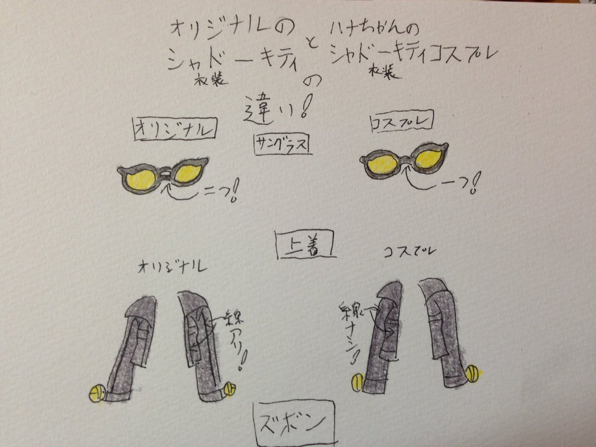 ヒーローバンクのシャドーキティとアニメヒーローバンク19話に出てきたシャドーキティコスハナちゃんの衣装の違い。 #お絵描