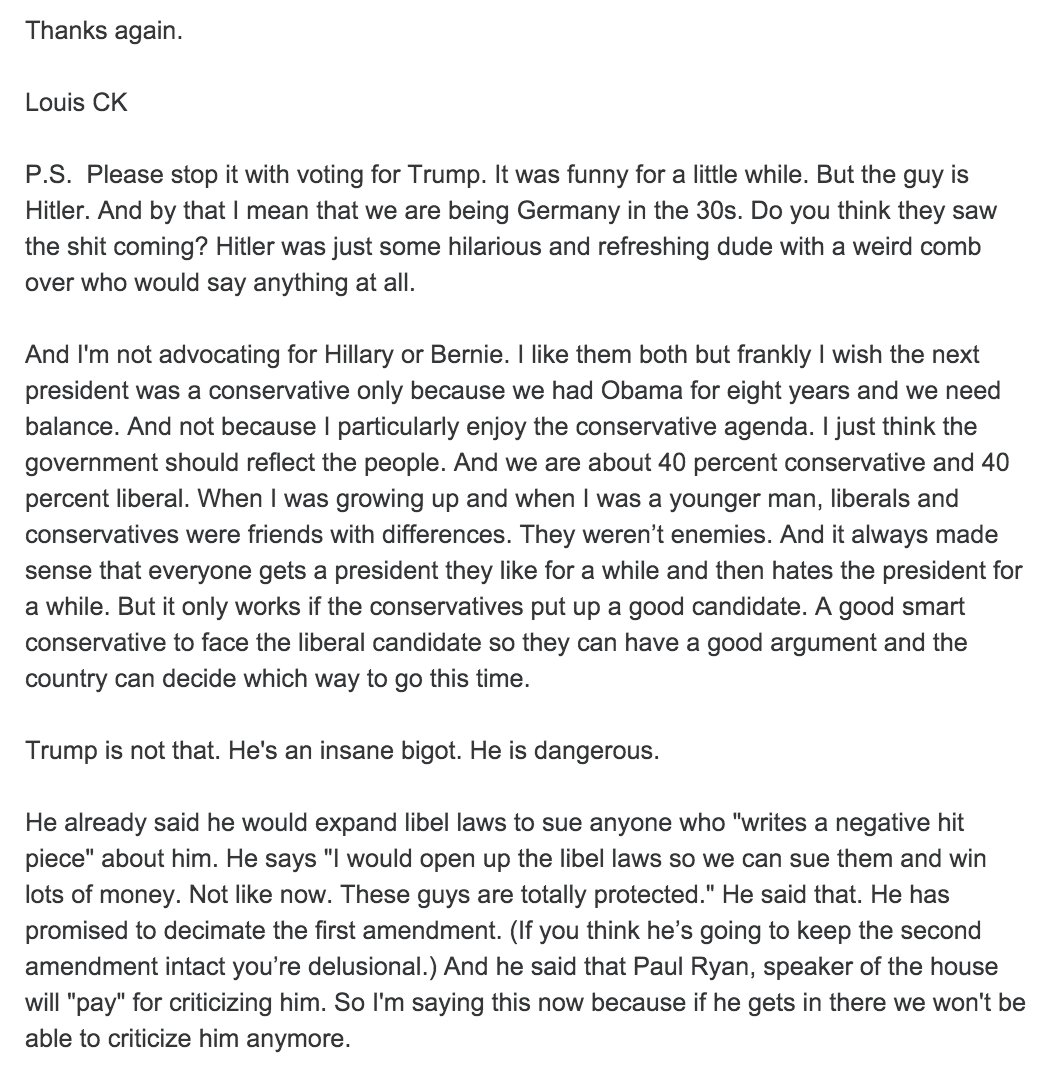 """Trump is a messed up guy with a hole in his heart that he tries to fill with money and attention"" - Louis CK email https://t.co/DVfbCNVycZ"