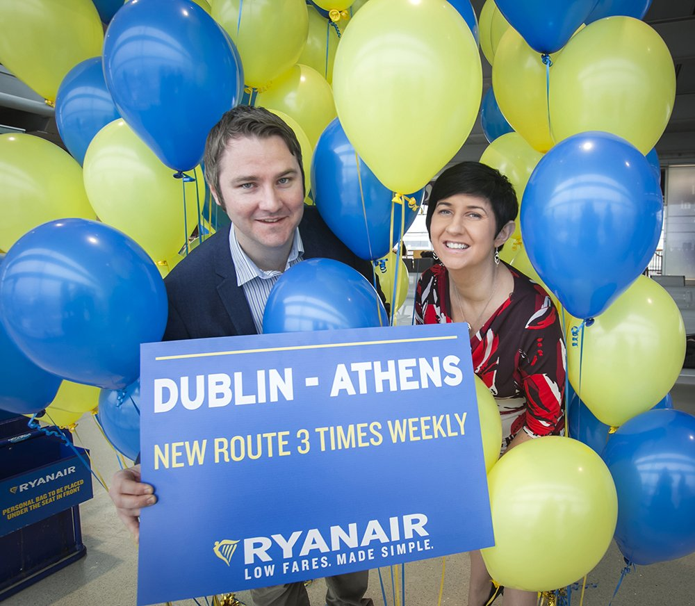 .@Ryanair launched its new 3 times weekly Athens service from @DublinAirport today. More at