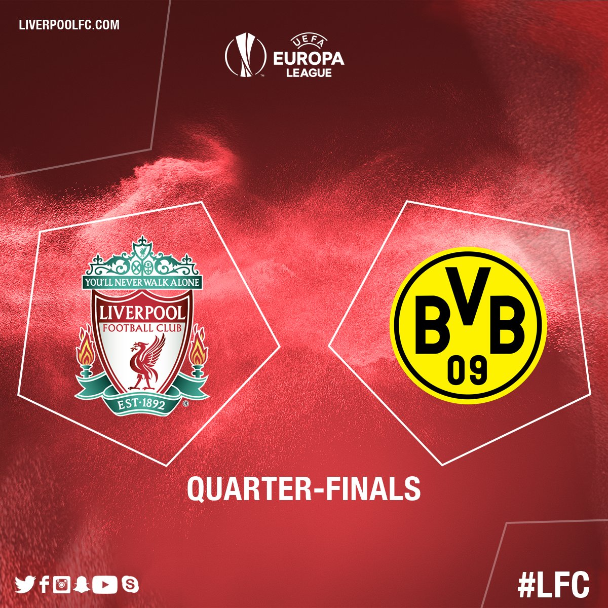 #LFC have been drawn to face @BVB in the quarter-finals of the @EuropaLeague. https://t.co/GpTFiAhZJT
