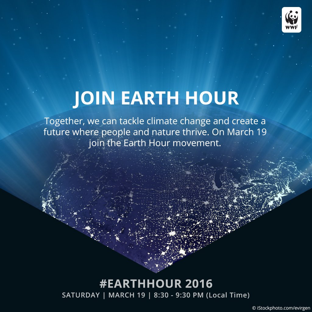 RT @World_Wildlife: The countdown begins: #EarthHour is tomorrow at 8:30PM your local time! RT if you will be participating. https://t.co/j…