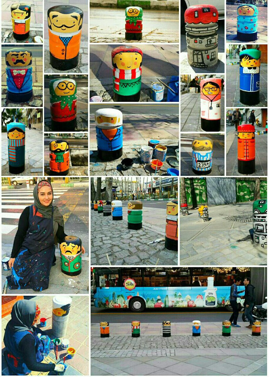 این خانم برداشته موانع سیمانی تهران رو اینجوری خوشگل کرده؛ دمش گرم. https://t.co/5PCq7Bij86