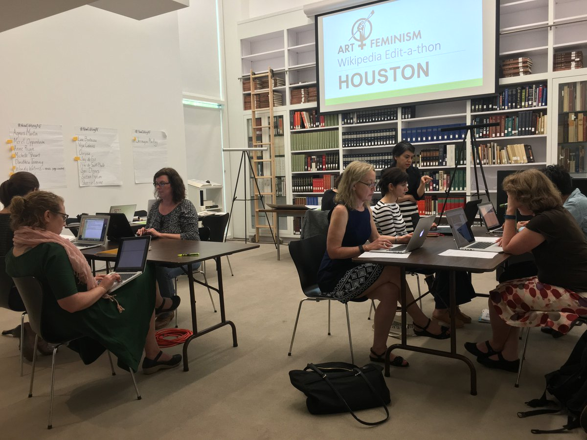 Happening Now in Menil Library: @artandfeminism Wikipedia Edit-a-thon