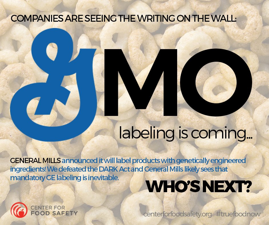 #GMOlabeling is inevitable - General Mills will label #GE products thanks to Vermont's law! https://t.co/KH9lMci2vk https://t.co/KKTcift7Uz