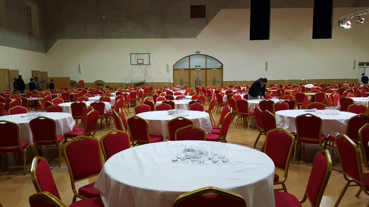 Volunteers working hard to get the hall ready for the leading interfaith event of the year #PeaceSymposiumUK 19Mar https://t.co/BV1Zor2Yxz