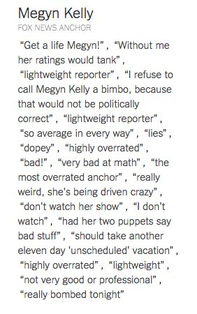 The list of Donald Trump's insults to Megyn Kelly grow. See the list of everybody: https://t.co/ItYrESQkeR https://t.co/lVisFXY6HC