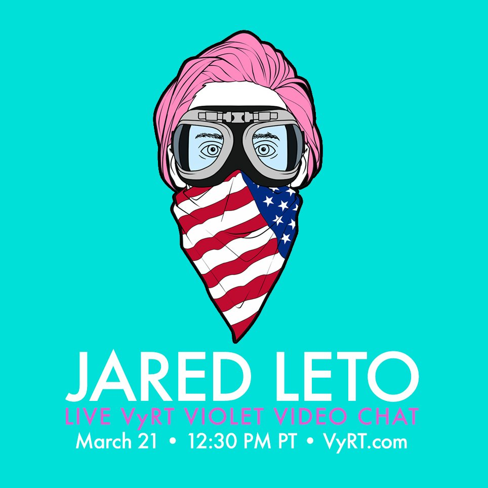RT @VyRT: How about one more go around before the big event? Join @JaredLeto MONDAY 12:30PM PT! — https://t.co/ykGqvYBCvM https://t.co/LHAl…