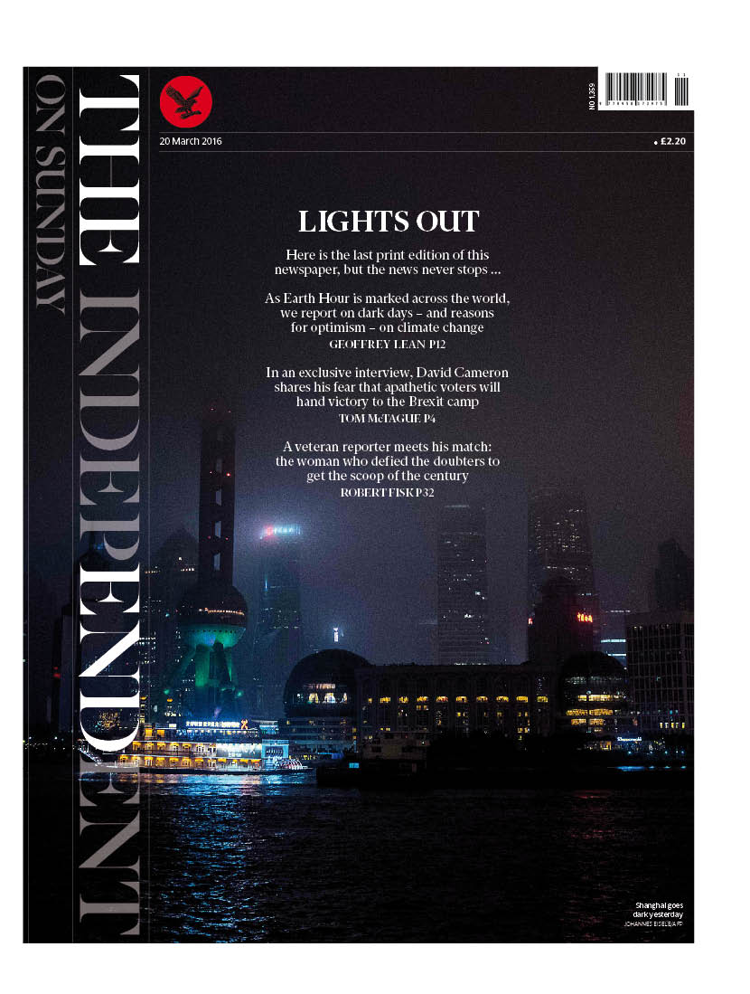 First (and last) look at the @IndyOnSunday front page. As strong, distinctive and smart as 1990. Goodnight. https://t.co/CQVZIkjOqZ