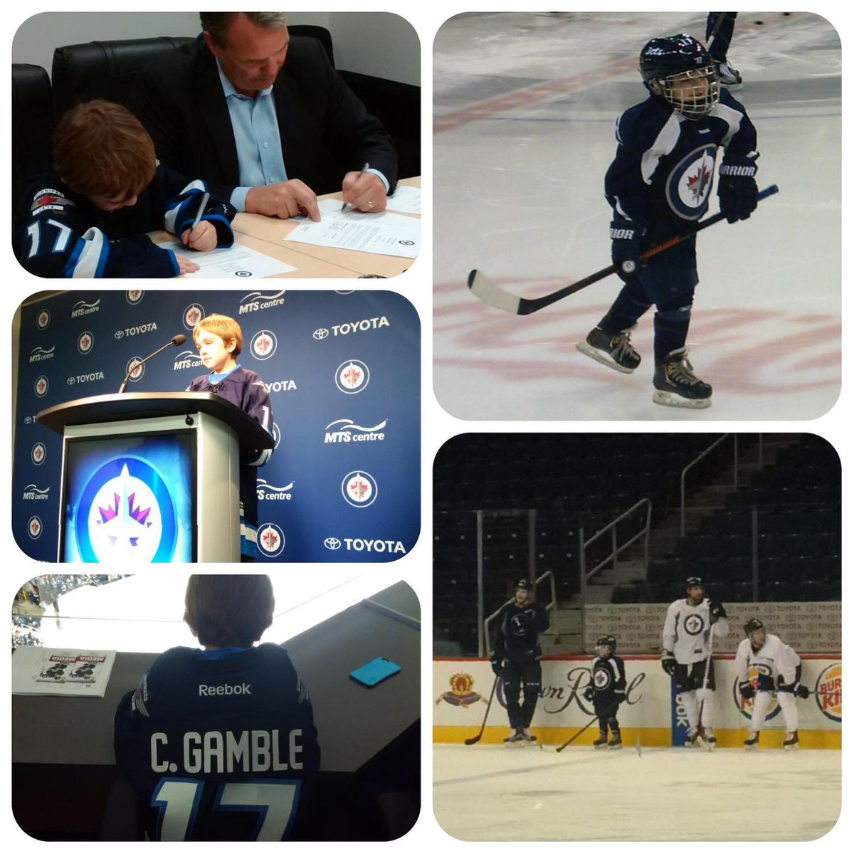 Incredible wish-in-progress in #Winnipeg as @MakeAWishSA wish kid Connolly gets his wish to be a @NHLJets player! https://t.co/jgtI7Ft2S8