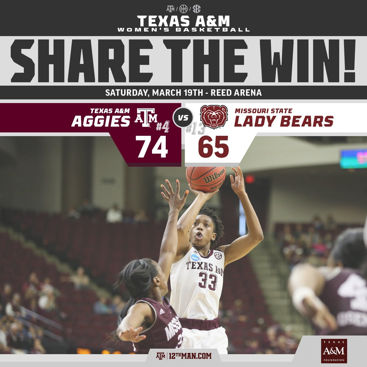 The Aggies defeat Missouri State in the first round! #RTtheWIN #12thMan  Pres. by @TXAMFoundation https://t.co/bES5Em8lDB