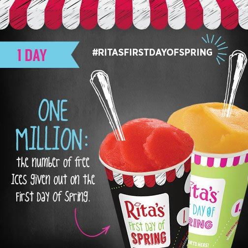 TOMORROW! #RitasFirstDayofSpring #FREE Italian Ice Giveaway kicks off at 12pm! RT if you're ready! https://t.co/A7MOBkt457