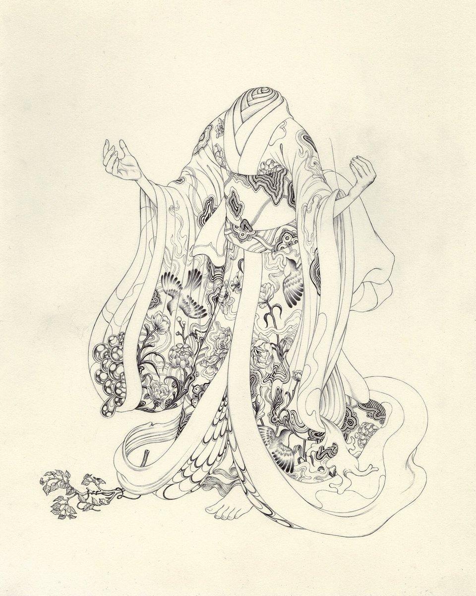"Mockingbird Kimono, Ink on Paper, 11x16"", 2015. https://t.co/H0r4MSNA5T"