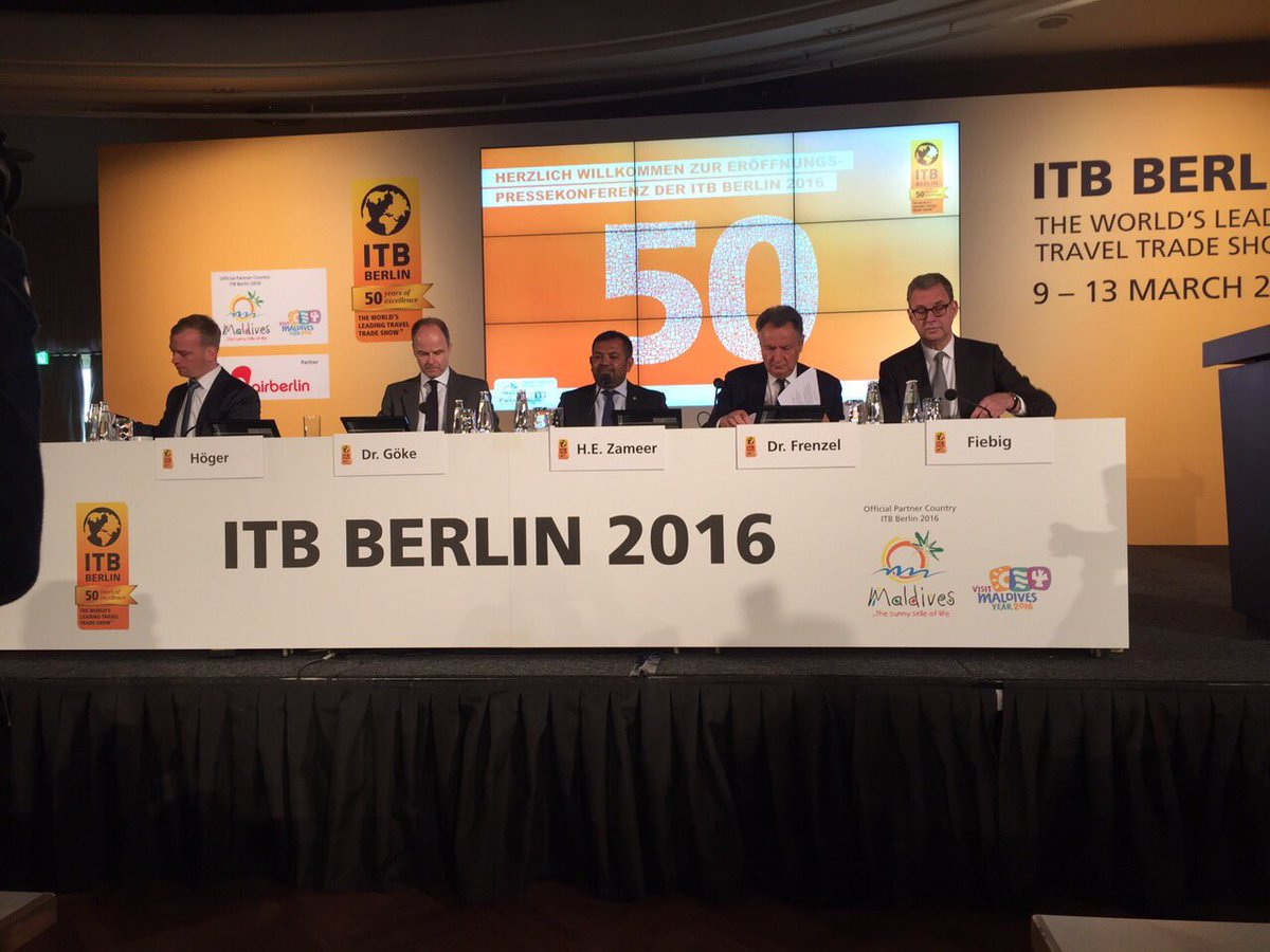 Tourism Minister of the #Maldives, @MoosaZameer at the official #ITBBerlin press conference #ITB50 https://t.co/O0onv087cH