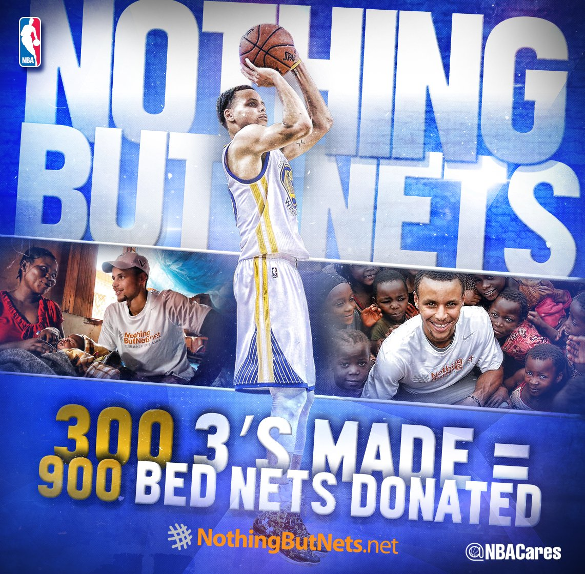 900 & counting… Every 3 @StephenCurry30 hits this season = 3 bed nets donated to @nothingbutnets! #NBACares https://t.co/xD0reZOVmI