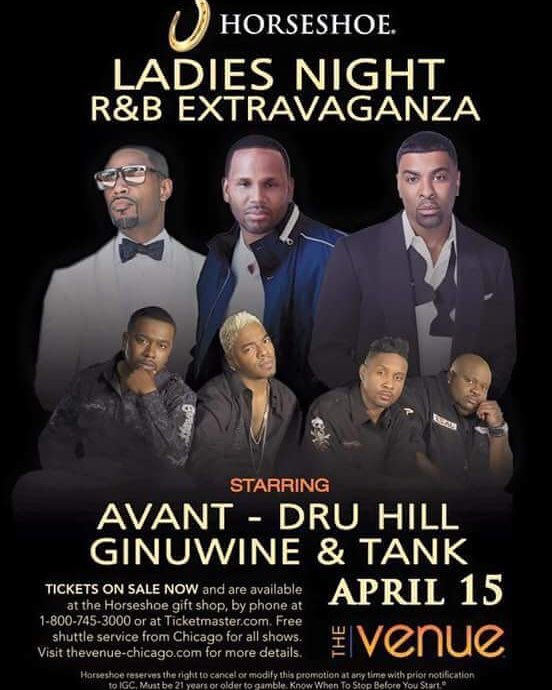 Tickets on sale NOW @Ginuwine @avantmusic @TheRealTank @DruHill4Real #Chicago #Indiana @ChiHorseshoe https://t.co/aWOPo4Ej6H