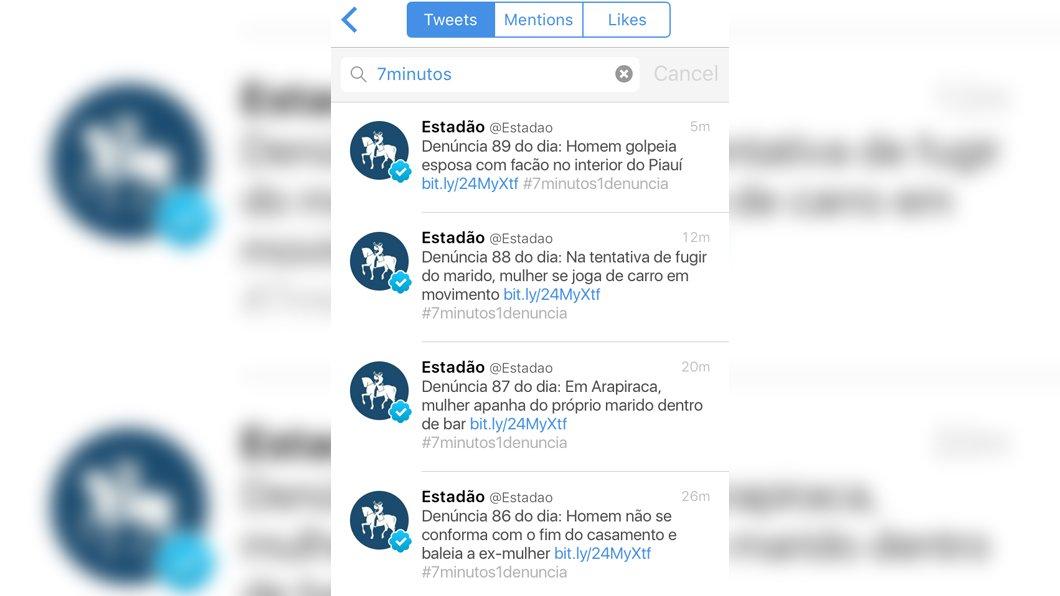 Estadão expõe agressões contra mulheres tweetando 1 denúncia a cada 7 minutos - https://t.co/aNU8e093n3 https://t.co/DU3wMpQBFi