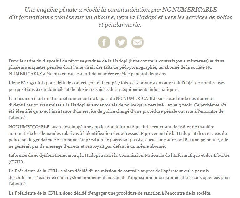 CP| Avertissement @CNIL à NUMERICABLE pour erreur de transmission de données sur ses abonnés https://t.co/nzJNNizZ7K https://t.co/GvKvMeSfho