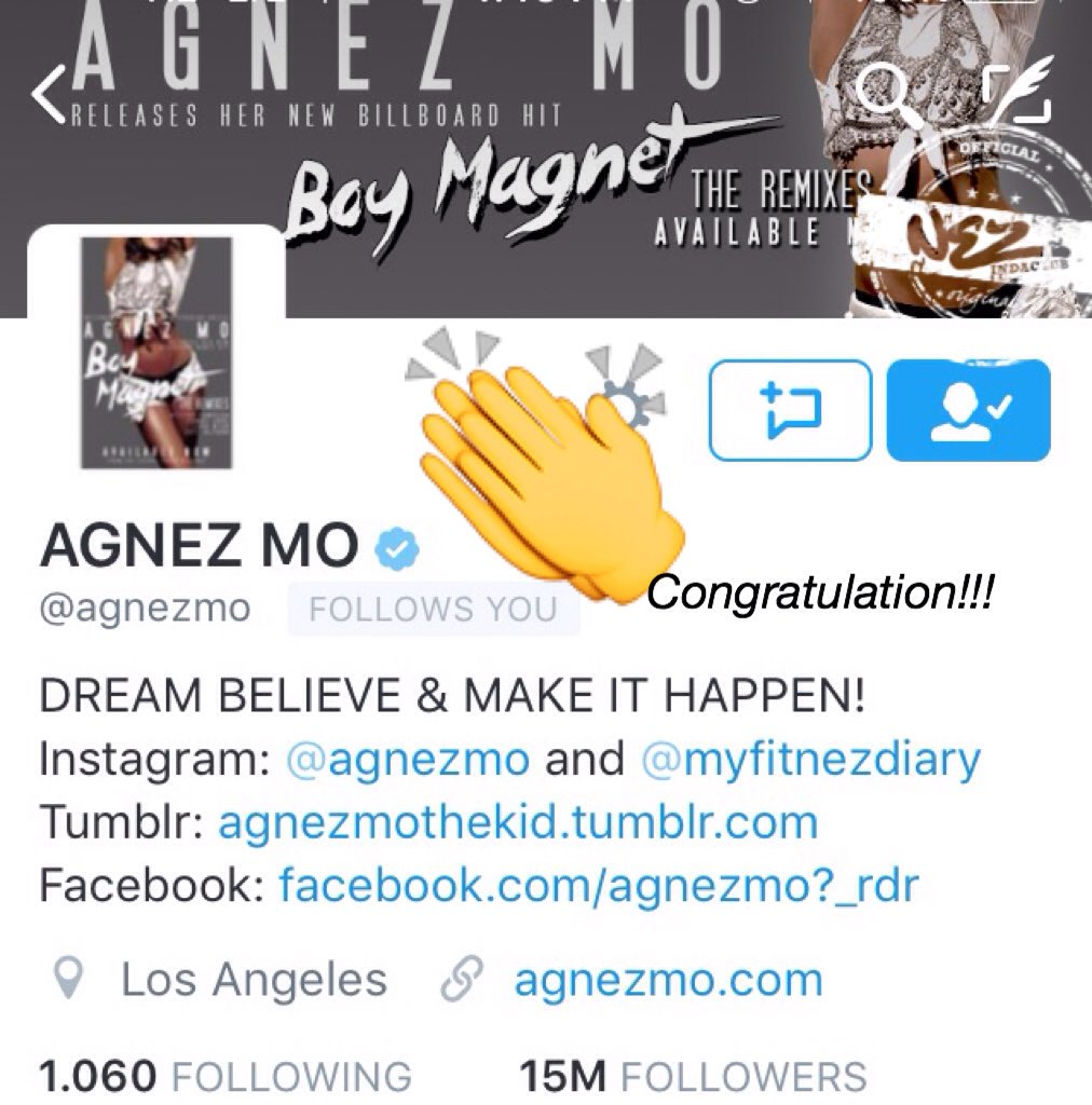 Wow!! Congratulation @agnezmo for 15 Million Followers!!