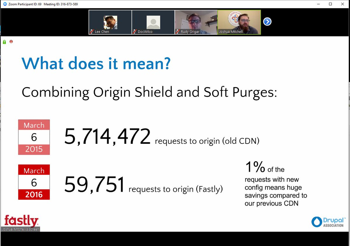 This: 1% of reqs now go to origin vs to old cdn @DrupalAssoc @fastly webinar live now: https://t.co/HNQgnE7yEu https://t.co/YAHUOxAJ15