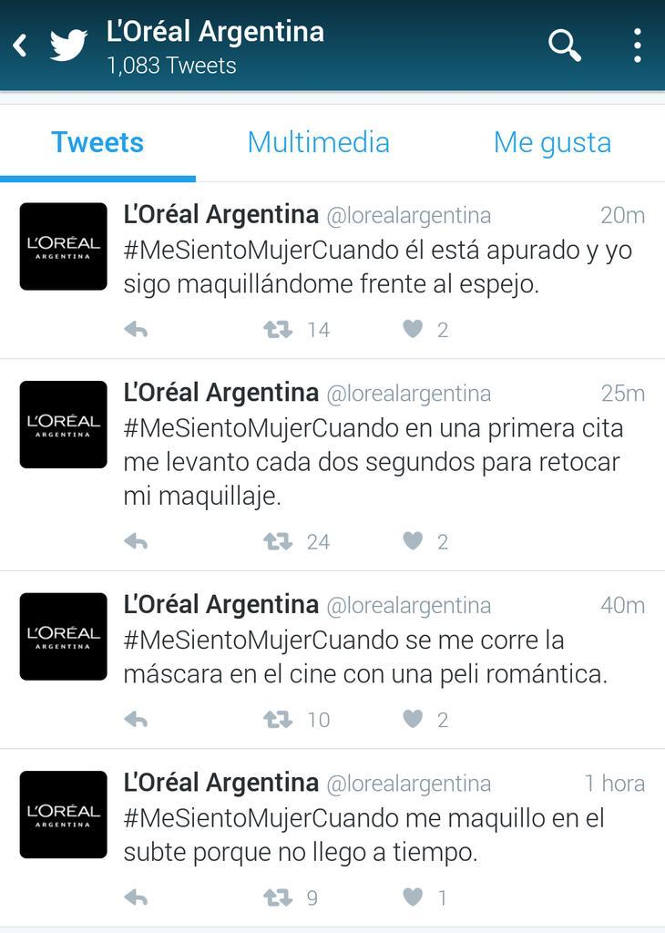 Estos tuits de @LorealArgentina son reales. Los creó Don Draper en los 60s y en el 2016 pasaron varios filtros.