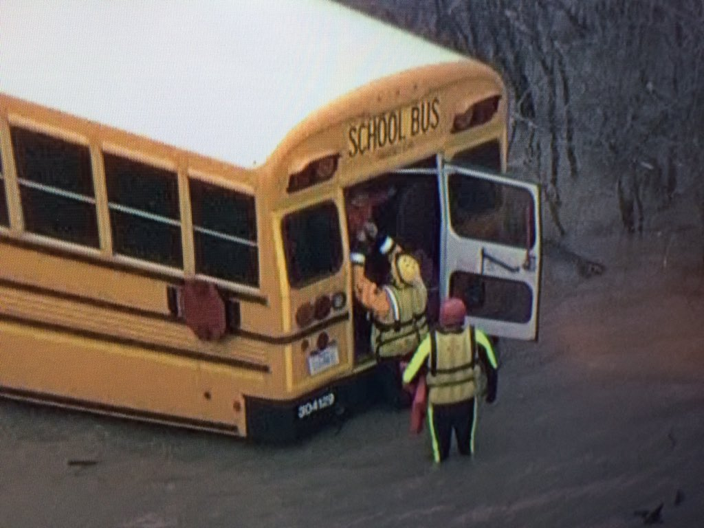 Six kids safely rescued from @dentonisd bus that got stuck in high water this morning.  #answered prayers https://t.co/okhgQqZ75p