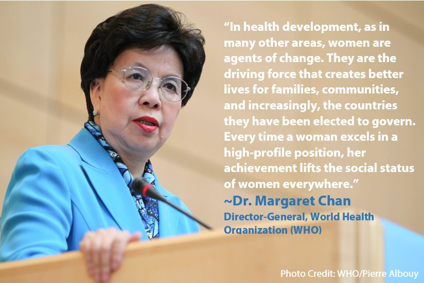 Margaret Chan w/ @WHO on the importance of #women in leadership in #globalhealth & other areas. #IWD2016 #iLeadGH https://t.co/RhmgkCC1kU
