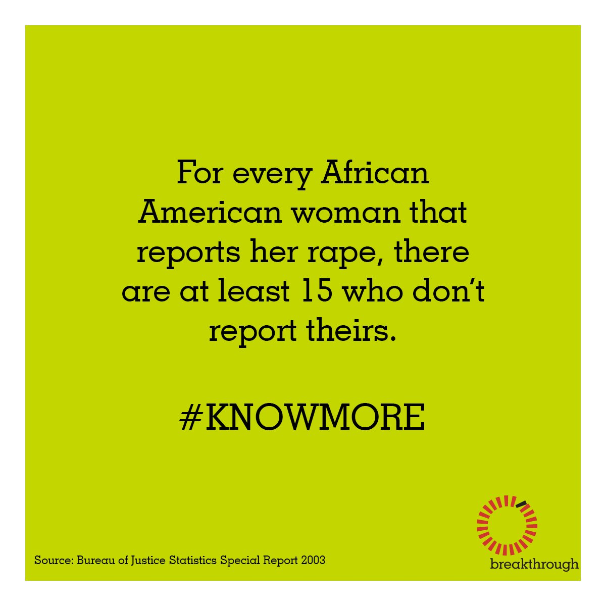 For every African American woman who reports her rape, at least 15 more don't. #BlackWomensLivesMatter #KNOWMORE https://t.co/Nx2NaTvfNS