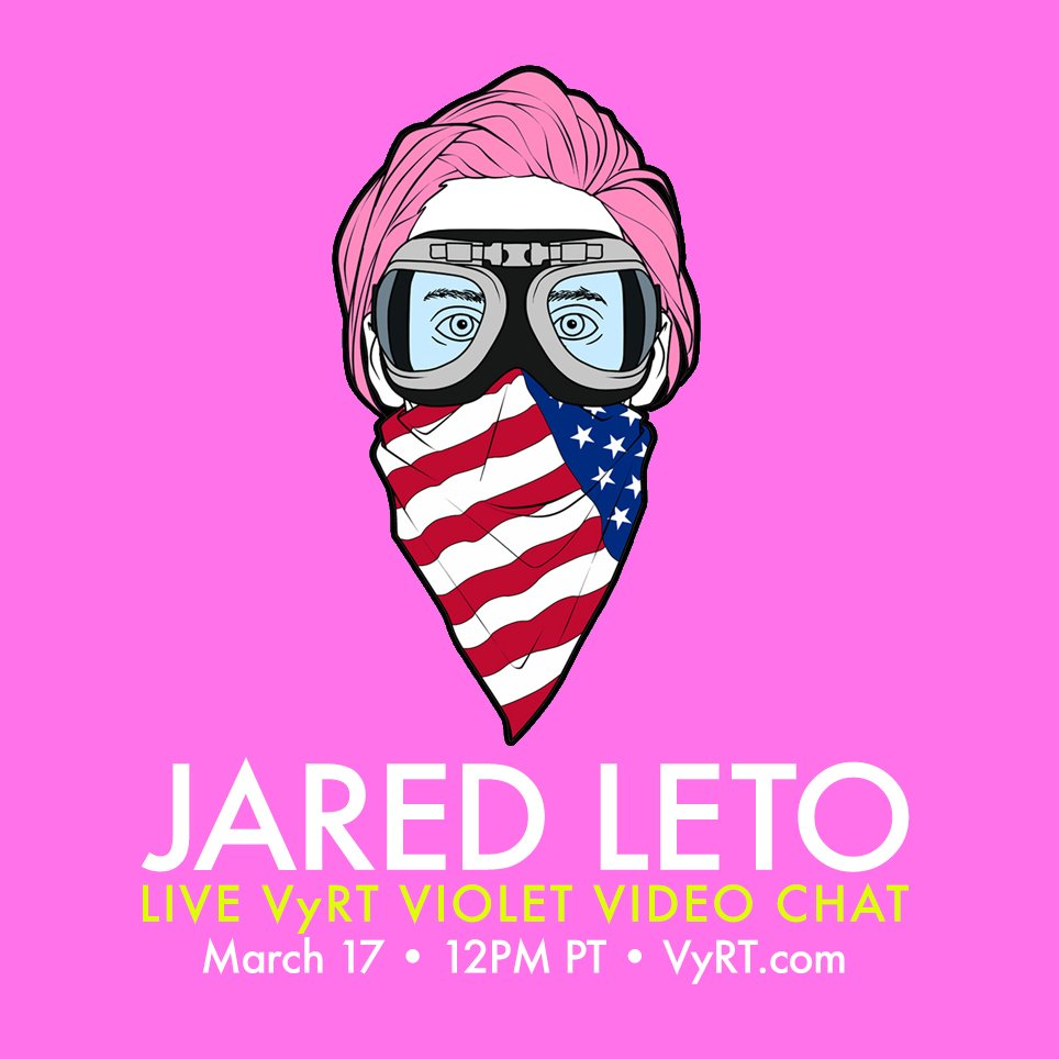 RT @VyRT: Clear your calendars + join @JaredLeto for a VyRT Violet video chat MARCH 17 • 12PM PT! — https://t.co/ykGqvYBCvM https://t.co/WU…
