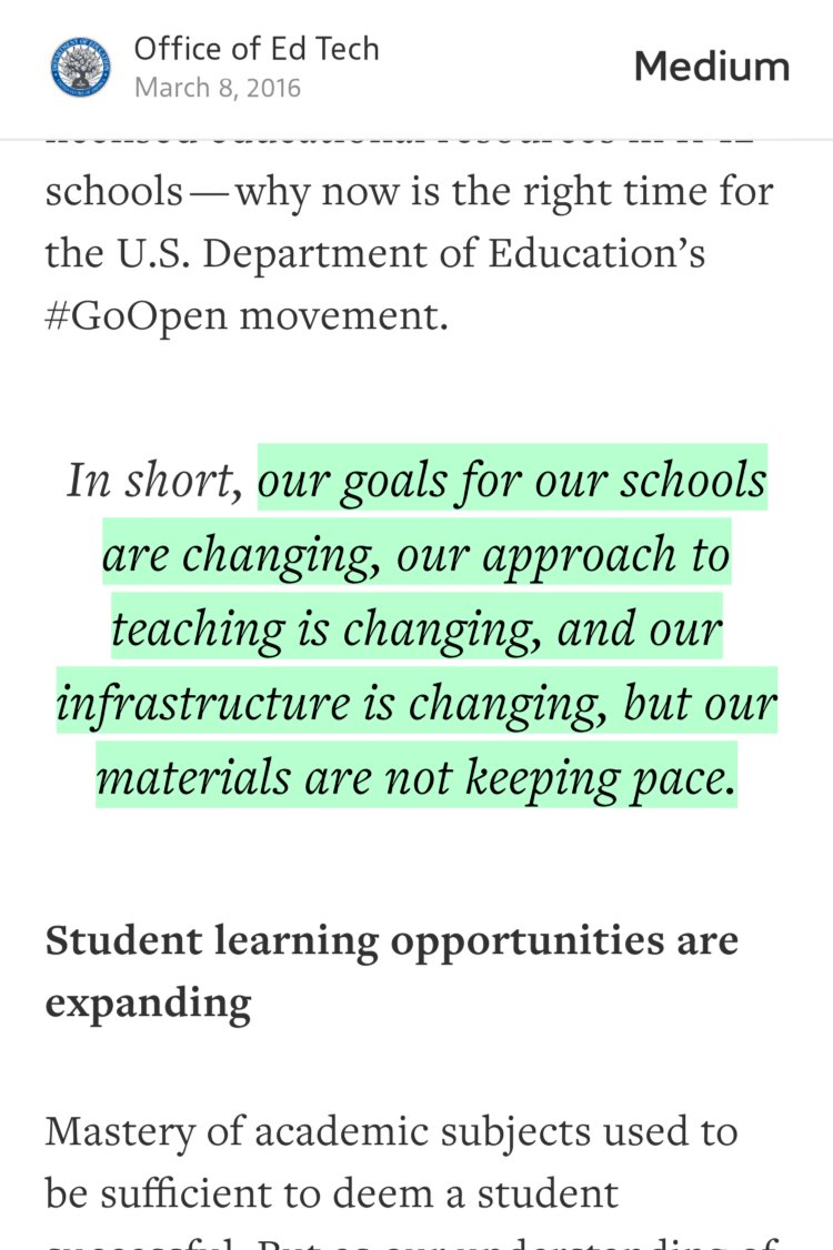 Why #GoOpen? Why Now? — @OfficeofEdTech https://t.co/u2wdVrnCzd #OpenEducationWk https://t.co/RQfca98Clr