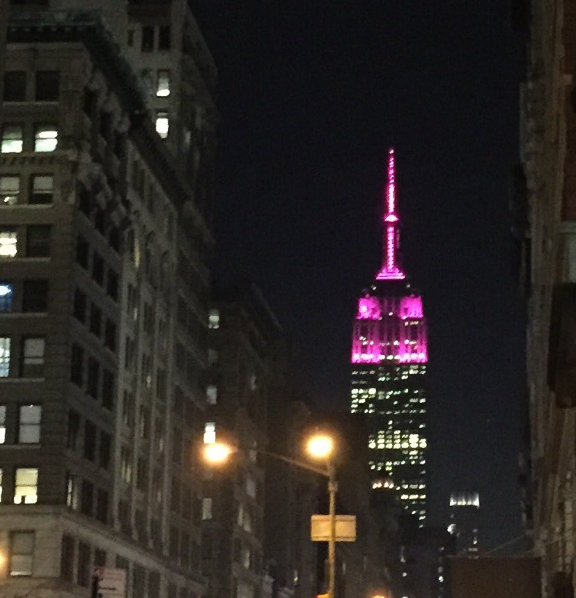 Loving the fierce pink Empire State Building for #InternationalWomensDay