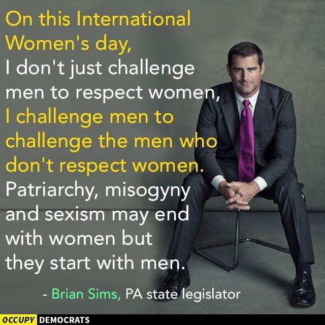 """I challenge men to challenge the men who don't respect women."" #Truth #InternationalWomensDay via @OccupyDemocracy https://t.co/rLWlSOnWpp"
