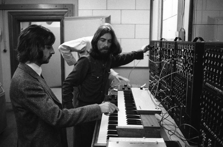 "The Beatles and their Moog synthesizer, recording ""Because"" with producer George Martin. https://t.co/IjTfceLb52"