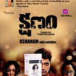 The much-acclaimed Telugu film #Kshanam opens on Friday in Mumbai, Pune, Goa, Delhi, NCR. With subtitles. Poster: https://t.co/AbfIluoHHi